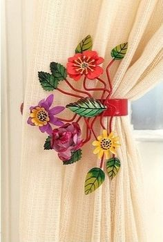 Bright Botanical Curtain Tie-Backs eclectic hardware