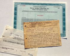 2 pg. WESTERN UNION TELEGRAM FROM HOWARD HUGHES REGARDING TWA AND $12,000,000 #WesternUnion