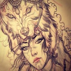 Really want to start posting exclusive to my tumblr stuff, just to keep things interesting, especially if you are following my IG.. Anywho! Here is one, a lady with a wolven-headress, will be getting tattooed this weekend. Greggletron - 2013
