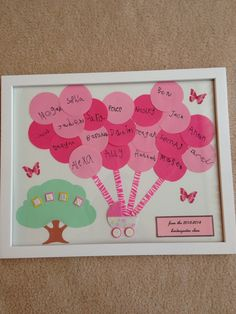 Baby gift for teacher. Students wrote their names on the balloons.  Carriage from scrapbook store. Tree from die cutter at school. Butterflies from clip art and printed on card stock.
