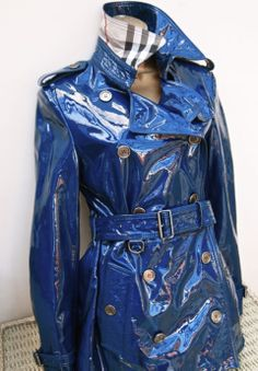 Shiny blue PVC Rainjacket
