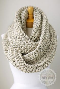 Oversized knit scarf, oversized chunky infinity scarf in Oatmeal Brown color, crochet infinity scarves, men's scarves
