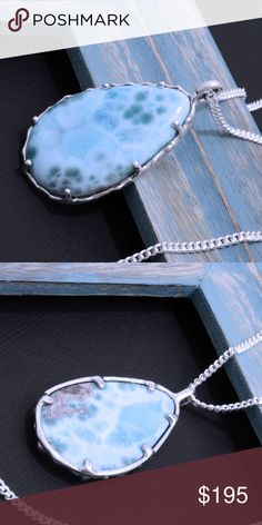 """Large 950 Sterling Silver Larimar Pendant & Chain Pendant Stamped """"950"""". Higher Sterling Finesse. authentic larimar. Pendant 55mm x 30mm. Weight: 30.4 grams (Pendant& chain)  Chain stamped """"925"""". Size 22 inches.  Sterling silver is an alloy of silver containing 92.5% by mass of silver and 7.5% by mass of other mThe sterling silver standard has a minimum millesimal fineness of 925.   The fitness on this pendant is 950.  All my jewelry is solid sterling silver. I do not plate.   Hand crafted…"""