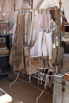 Burlap coffee sack aprons and totes