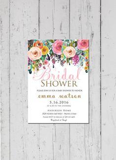 Bridal Shower Invitation Watercolor bridal shower by LewisDesignCo