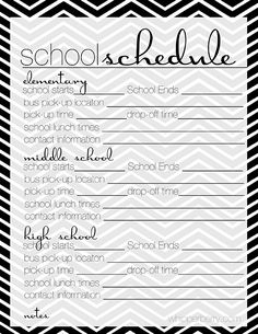 School schedule for the family planner from http://whipperberry.com #school #printable