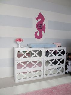 IKEA Hackers Malm dresser- I like the shape of the pattern and kinda like the mirror but wouldnt need to do that
