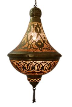 Tall Moroccan Hanging Brass Ceiling Lamp