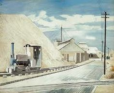 """Cement Works"" by Eric Ravilious, Whilst staying at Furlongs on the South Downs, Peggy Angus and Eric Ravilious made the nearby Asham Cement Works their unlikely subject, he painting in watercolour and her in oil. Royal College Of Art, Wood Engraving, East Sussex, Art Pictures, Illustrators, Original Artwork, Street Art, Urban, Landscape"
