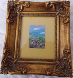 FLOWERS on a Hill  Original Miniature Painting  - by Majo, $25.00