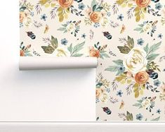 Adhesive wallpaper spoonflower | Etsy Self Adhesive Wallpaper, Custom Wallpaper, Wallpaper Roll, Peel And Stick Wallpaper, Removable Wallpaper For Renters, Wallpaper Ideas, Watercolor Wallpaper, Floral Watercolor, Nursery Floral Wallpaper