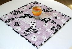 Quilted Table Topper Candle Mat Black White by RedNeedleQuilts