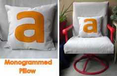Drop Cloth Monogrammed Pillow