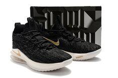 e54b6b4689bd Nike Lebron James 15 Low Basketball Shoes Black Metallic Gold on  www.jordan12low.com