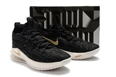 66bb9d940bf3 Nike Lebron James 15 Low Basketball Shoes Black Metallic Gold on  www.jordan12low.com