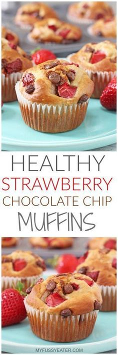 hese Healthy Strawberry & Chocolate Chip Muffins are packed full of oats, banana, greek yogurt and honey and take just a couple of minutes to whip up in a blender or food processor. #healthychocolatemuffins