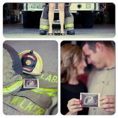 Firefighter Pregnancy Announcement Firefighter Pregnancy Announcement, Newborn Firefighter, Twins Announcement, Baby Announcement Pictures, Maternity Poses, Maternity Pictures, Baby Pictures, Baby Photos, Newborn Photos