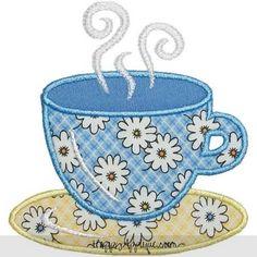 Teacup Applique Design.  Neat website for appliqué patterns.