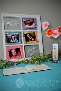 graduation party ideas/use glass windows that I have Graduation Open Houses, 8th Grade Graduation, Graduation 2016, Graduation Celebration, High School Graduation, Graduation Gifts, Graduation Invitations, Graduation Decorations, Graduation Centerpiece