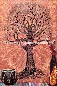 Twin Native Tree of Life Tapestry, Tree from jaipurihandicraft