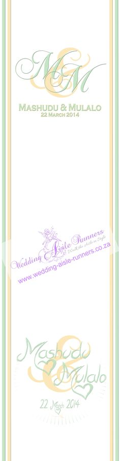 Personalised aisle runners by Wedding Aisle Runners - South Africa.  Walk the Aisle in Style.  We ship worldwide.