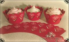 Valentine rose cupcake wrappers.  Heart cut wrappers with white rose print and Diamanté gems. £5.95 for 12 Plus post