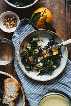 fruity shredded kale salad, for a crowd — dolly and oatmeal Kale Recipes, Healthy Salad Recipes, Lunch Recipes, Vegetarian Recipes, Vegetarian Lunch, Lunch Snacks, Healthy Food, Sin Gluten, Vegan Recipes
