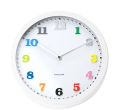 Wall Clock Ms. Coloured  Embossed Numbers Steel - casa.com