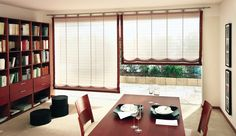 Roman Austrian and Festoon Blind System that blends perfectly into the design of the dining area
