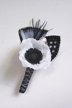 Anemone Boutonniere #wedding #love #black #white #black #ideas #motif #theme
