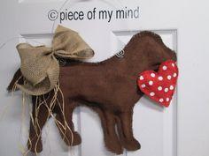 Burlap Door Hanger Chocolate Lab with Heart by nursejeanneg