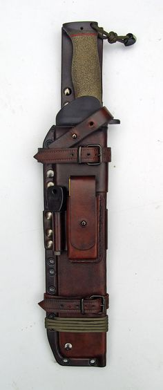 Bushcraft Sheath design with buckles and Sam Brown studs and features a removable Kydex insert.