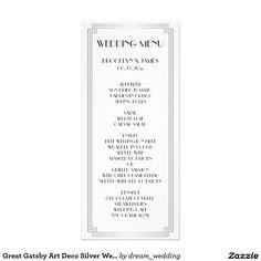 Great Gatsby Art Deco Silver Wedding Menu Card