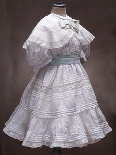 """Antique French Original White Batiste Embroidered Dress & Slip for Jumeau Steiner Bru Bebe or German doll 25-26"""" (63-66 cm)"""