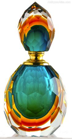 Antique Murano Sommerso Perfume Bottle in Amber & Green