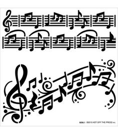 Hot Off The Press 6''x6'' Stencils-Music Notes