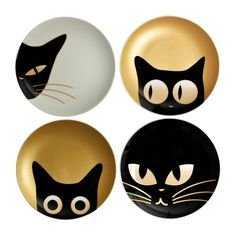 "Plate 6.5"" Cat Eyes Set of 4 Assorted Designs"