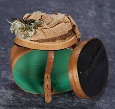 French Woven Bonnet with Silk, Velvet and Feathered Trim in Original Wooden Hat Box 300/500