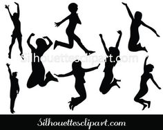 Jumping Women Silhouette Clip Art Pack