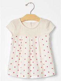 Dot mix-fabric top | Gap