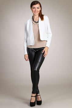 Crisp white blazer jacket paired with our embellished top. The faux leather legging close the outfit for a night out.