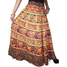Indian Women's Long Skirt Tribal printed Summer Casual Cotton Hippie... ($31) ❤ liked on Polyvore featuring skirts, gypsy skirt, tribal maxi skirt, gypsy maxi skirt, long summer skirts and long peasant skirt