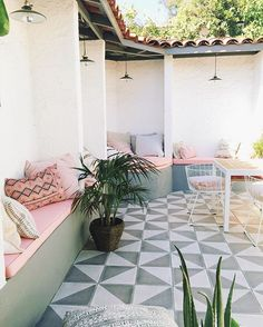 outdoor cement tile on the patio