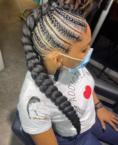 Mohawk Braid Styles, Cornrow Mohawk, Two Cornrow Braids, Half Cornrows, Braided Cornrow Hairstyles, Cornrow Ponytail, Mohawk Hairstyles, Box Braids, Grey Hair Braids