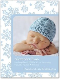 Cute winter birth announcement idea for a boy