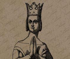 Medieval Queen Clip Art Illustration Vintage by nannyscottage, $2.00
