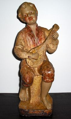 Boy with mandolin front view