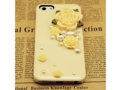 3D Flower + Crystal iphone iPhone 5/5S Case(Baby Yellow)