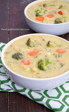 One pot, healthy vegan broccoli cheese soup is sure to make any dinner special. This broccoli cheese soup only takes 25 minutes, and is packed with added veggies, fiber and protein! Vegan, gluten free, dairy free, and delicious!   www.pancakewarriors.com