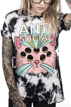 Letter Cartoon Cat Printed Round Neck Short Sleeve Pullover Loose Tee